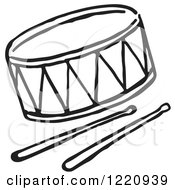 Clipart Of A Black And White Drum And Sticks Royalty Free Vector Illustration