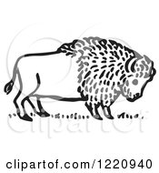 Clipart Of A Black And White Buffalo Royalty Free Vector Illustration
