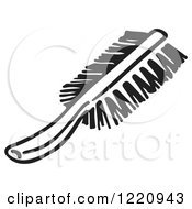 Clipart Of A Black And White Scrub Brush Royalty Free Vector Illustration