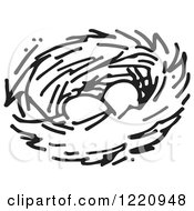 Clipart Of A Black And White Nest With Two Eggs Royalty Free Vector Illustration
