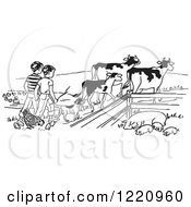 Clipart Of Boys Tending To Cattle Chickens And Pigs On A Farm Royalty Free Vector Illustration by Picsburg