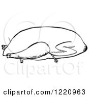 Clipart Of A Black And White Goose Trussed For Roasting Royalty Free Vector Illustration by Picsburg