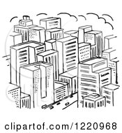 Clipart Of A Black And White City Royalty Free Vector Illustration