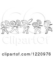 Black And White Chef Cherubs Marching With Kitchen Items