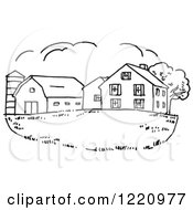 Clipart Of A Black And White Farm House Royalty Free Vector Illustration by Picsburg #COLLC1220977-0181