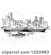 Clipart Of A Black And White Ship Near A City Royalty Free Vector Illustration