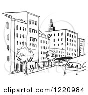 Clipart Of A Black And White City Street Royalty Free Vector Illustration by Picsburg #COLLC1220984-0181