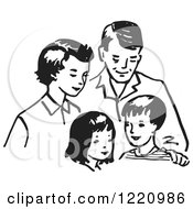 Clipart Of A Black And White Happy Retro Family Royalty Free Vector Illustration