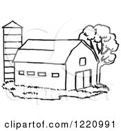 Clipart Of A Black And White Barn And Silo Royalty Free Vector Illustration by Picsburg #COLLC1220991-0181