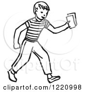 Clipart Of A Black And White Boy Holding Out Money Or Tickets Royalty Free Vector Illustration by Picsburg