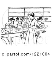 Clipart Of A Black And White Retro Teacher Watching Children Write In Class Royalty Free Vector Illustration