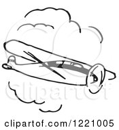 Clipart Of A Black And White Flying Airplane 3 Royalty Free Vector Illustration by Picsburg