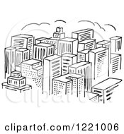 Clipart Of A Black And White City Of Skyscrapers Royalty Free Vector Illustration