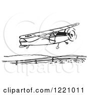 Clipart Of A Black And White Flying Airplane 2 Royalty Free Vector Illustration by Picsburg