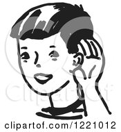 Clipart Of A Black And White Boy Cupping His Ear Royalty Free Vector Illustration by Picsburg #COLLC1221012-0181