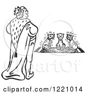 Clipart Of A Black And White King And Cats Royalty Free Vector Illustration