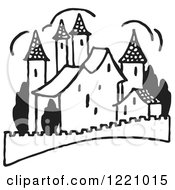 Clipart Of A Black And White Palace Royalty Free Vector Illustration