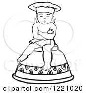 Black And White Retro Cherub Chef Sitting On An Upside Down Cup