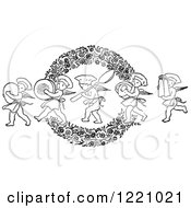 Black And White Chef Cherubs Marching With Kitchen Items Over A Floral Wreath