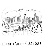 Clipart Of A Black And White Train Near A City Royalty Free Vector Illustration by Picsburg