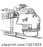 Clipart Of A Black And White Train Engineer Blowing The Horn Royalty Free Vector Illustration by Picsburg