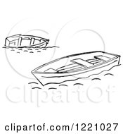 Clipart Of Black And White Tipped And Floating Boats Royalty Free Vector Illustration by Picsburg