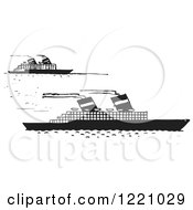 Clipart Of Black And White Steamboats Royalty Free Vector Illustration by Picsburg