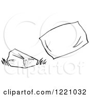 Clipart Of A Black And White Rock And Pillow Royalty Free Vector Illustration