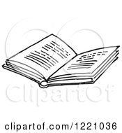 Clipart Of A Black And White Open Book Royalty Free Vector Illustration by Picsburg