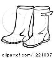 Black And White Pair Of Rain Boots