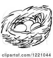 Clipart Of A Black And White Nest With Three Eggs Royalty Free Vector Illustration
