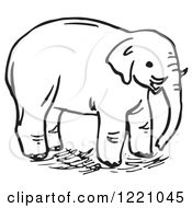 Clipart Of A Black And White Elephant Royalty Free Vector Illustration
