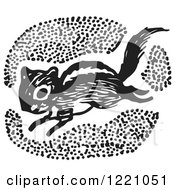 Clipart Of A Black And White Chipmunk Royalty Free Vector Illustration