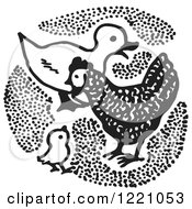 Clipart Of A Black And White Duck And Chickens Royalty Free Vector Illustration