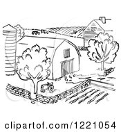 Clipart Of A Black And White Farm Royalty Free Vector Illustration