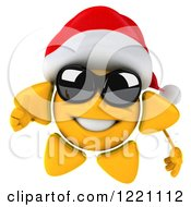 Clipart Of A 3d Christmas Sun Mascot Wearing Shades And A Santa Hat And Holding A Thumb Up Royalty Free Illustration