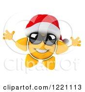 Clipart Of A 3d Jumping Christmas Sun Mascot Wearing Shades And A Santa Hat Royalty Free Illustration