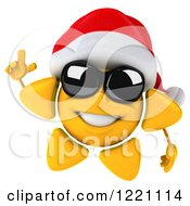 Clipart Of A 3d Christmas Sun Mascot Wearing Shades And A Santa Hat And Holding Up A Finger Royalty Free Illustration