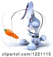 Clipart Of A 3d Bunny Rabbit Chasing A Carrot On A Stick Royalty Free Illustration