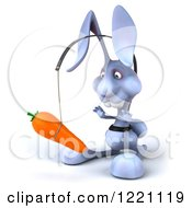 Clipart Of A 3d Bunny Rabbit Chasing A Carrot On A Stick 2 Royalty Free Illustration