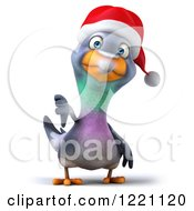 Clipart Of A 3d Christmas Pigeon Mascot Holding A Thumb Down Royalty Free Illustration