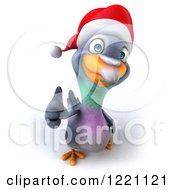 Clipart Of A 3d Christmas Pigeon Mascot Holding A Thumb Up Royalty Free Illustration