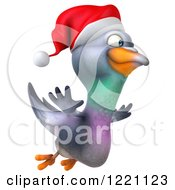 Clipart Of A 3d Christmas Pigeon Mascot Flying Royalty Free Illustration