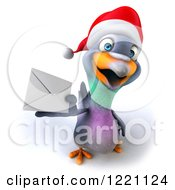 Clipart Of A 3d Christmas Pigeon Mascot Holding An Envelope Royalty Free Illustration