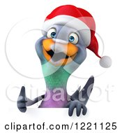 Clipart Of A 3d Christmas Pigeon Mascot Holding A Thumb Up Over A Sign Royalty Free Illustration