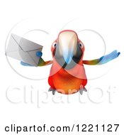 Clipart Of A 3d Macaw Parrot Flying With An Envelope Royalty Free Illustration