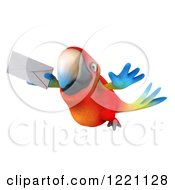 Clipart Of A 3d Macaw Parrot Flying With An Envelope 2 Royalty Free Illustration