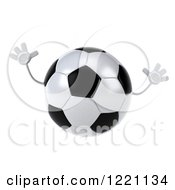 Clipart Of A 3d Soccer Ball Mascot Jumping Royalty Free Illustration