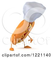Clipart Of A 3d Chef Hot Dog Pouting 2 Royalty Free Illustration