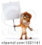 Clipart Of A 3d Lion Wearing Glasses And Holding A Sign Royalty Free Illustration